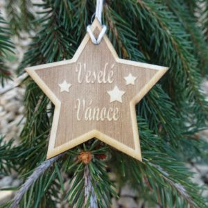 Vánoční hvězda dřevěná - Veselé vánoce s hvězdami 6 x 6 cm