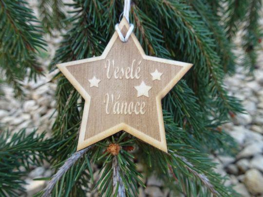 IMwood - Vánoční hvězda dřevěná - Veselé vánoce s hvězdami 6 x 6 cm