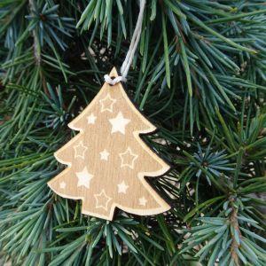 Vánoční ozdoba - stromeček s hvězdami 5 x 5 cm
