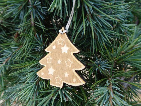 IMwood - Vánoční ozdoba - stromeček s hvězdami 5 x 5 cm