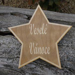 Dřevěná oboustranná hvězda na stromeček - výška 20 cm
