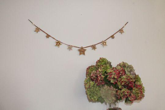 IMwood - Vánoční Girlanda oboustranná - 9 hvězd - délka 1 m