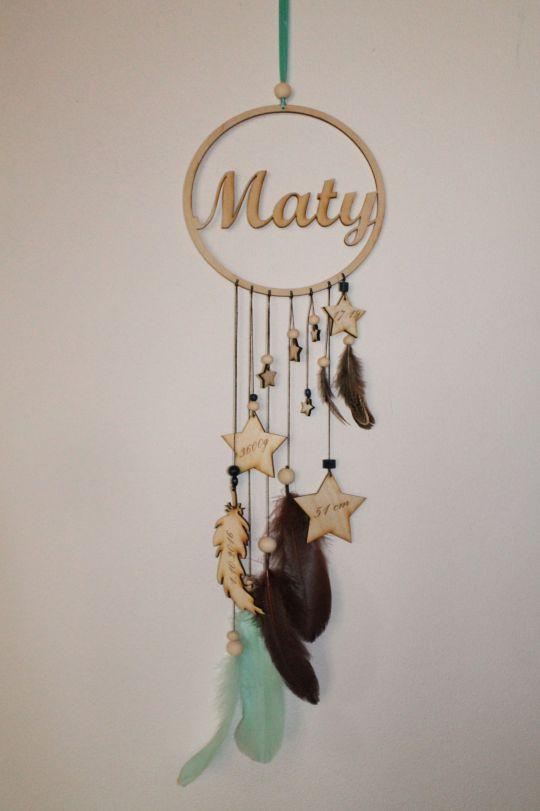 IMwood - Dřevěný dekorativní Lapač snů s jménem miminka, průměr 18 cm