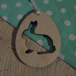 Velikonoční Vajíčko dřevěné - Zajíček výřez 6 x 5 cm