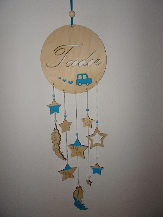 IMwood - Dřevěný dekorativní Lapač zlých snů s jménem miminka, průměr 18 cm
