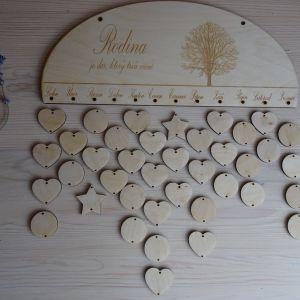 Dřevěný dekorativní rodinný kalendář k dotvoření - oválný, 35 x 16 cm
