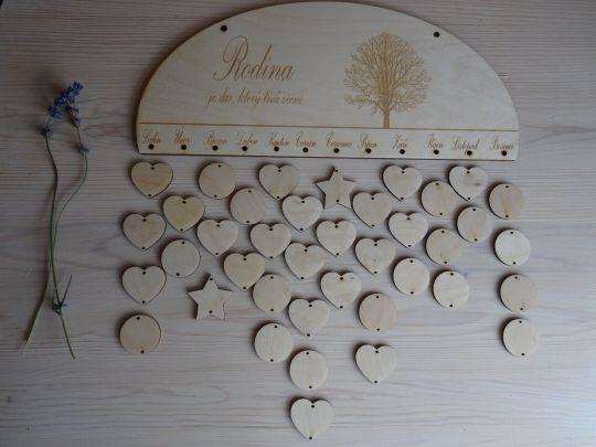 IMwood - Dřevěný dekorativní rodinný kalendář k dotvoření - oválný, 35 x 16 cm