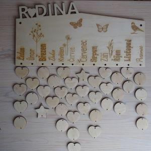 Dřevěný dekorativní rodinný kalendář k dotvoření - hranatý, 35 x 16 cm