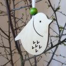 IMwood - Velikonoční dřevěná dekorace k pověšení - Ptáček s výřezem V 6 x 6,5 cm