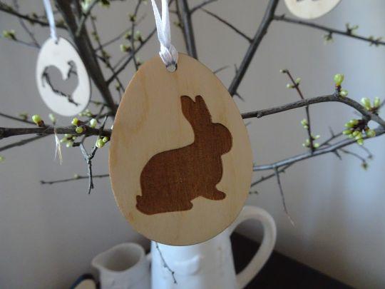 IMwood - Velikonoční Vajíčko dřevěné - Zajíček silueta 6 x 5 cm