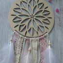 IMwood - Dřevěný dekorativní Lapač zlých snů s ornamentem, velikost 18 cm