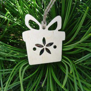Vánoční ozdoba - dárek 5x5,7 cm