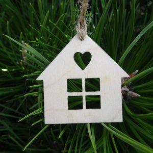 Vánoční ozdoba - domeček s srdíčkem 5x5 cm