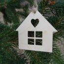 IMwood - Vánoční ozdoba - domeček s srdíčkem 5x5 cm