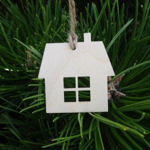 Vánoční ozdoba - domeček s komínkem 5x5 cm