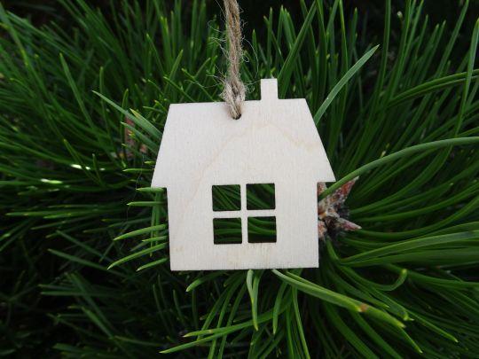 IMwood - Vánoční ozdoba - domeček s komínkem 5x5 cm