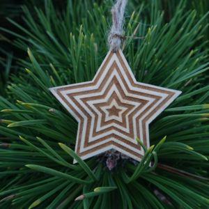 Vánoční hvězda dřevěná - Dvoubarevná 6 x 6 cm