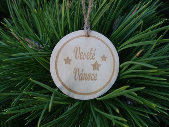 IMwood - Dřevěná baňka vánoční - Veselé Vánoce 5 x 5 cm