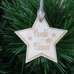 Vánoční hvězda dřevěná - Veselé Vánoce 6 x 6 cm