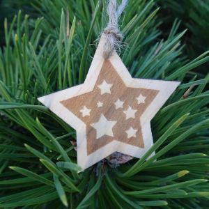 Vánoční hvězda dřevěná - Noční obloha 6 x 6 cm