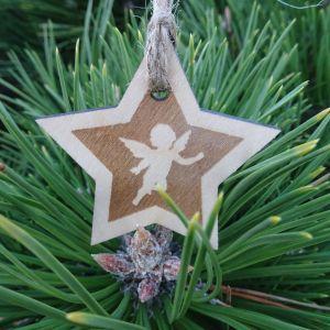 Vánoční hvězda dřevěná - Andělíček 6 x 6 cm