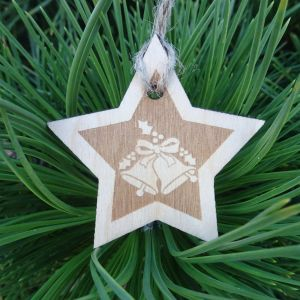Vánoční hvězda dřevěná - Zvonečky 6 x 6 cm
