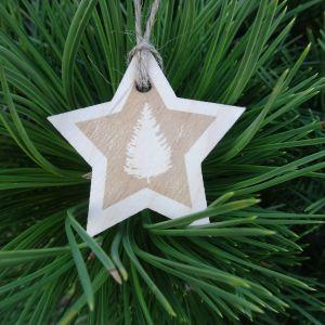 Vánoční hvězda dřevěná - Stromeček 6x 6 cm