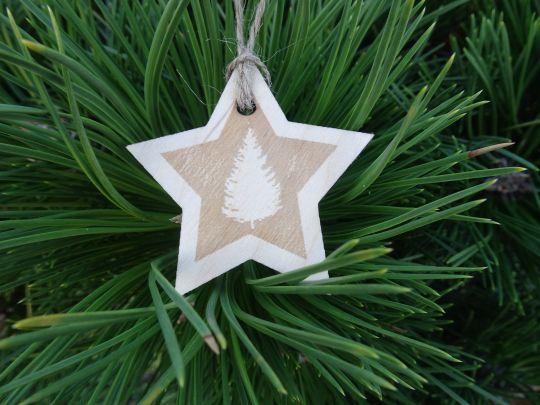 IMwood - Vánoční hvězda dřevěná - Stromeček 6x 6 cm