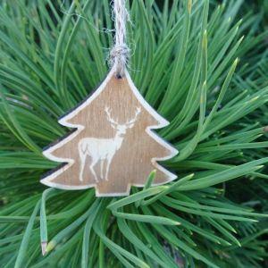 Vánoční ozdoba - stromeček s jelenem 5 x 5 cm
