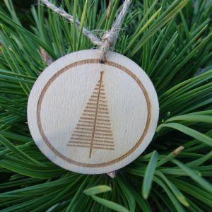 Dřevěná baňka se stromečkem - denní obloha 5 x 5 cm