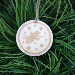 Dřevěná baňka vánoční - Andělíček 5 x 5 cm
