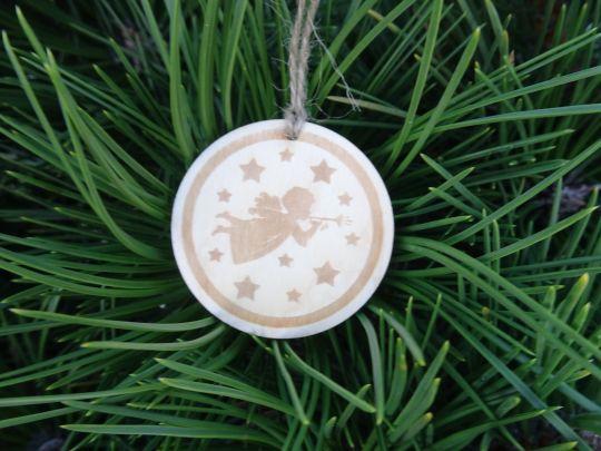 IMwood - Dřevěná baňka vánoční - Andělíček 5 x 5 cm