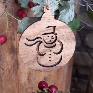 Vánoční baňka dubová-sněhulák