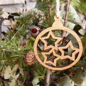 Vánoční baňka dubová-hvězdy