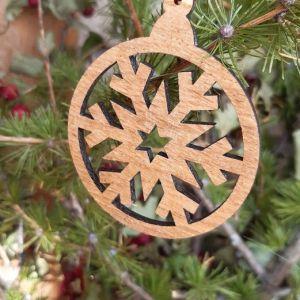 Vánoční baňka dubová-vločka