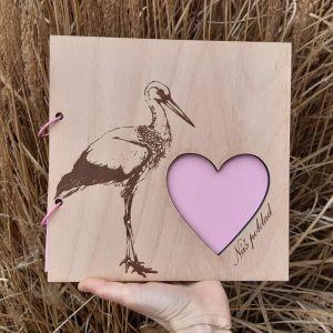 Dřevěný album-NÁŠ POKLAD-RŮŽOVÁ